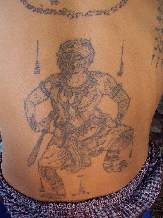 sak yant thai temple tattoos yant hanuman. Black Bedroom Furniture Sets. Home Design Ideas