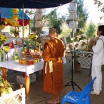 The altar is dressed with the traditional offerings for Wai Kroo to the Buddha, the Devas, and the 108 Lers