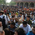 The crowd of devotees on Wai Kroo (Master Day) at Wat bang Pra